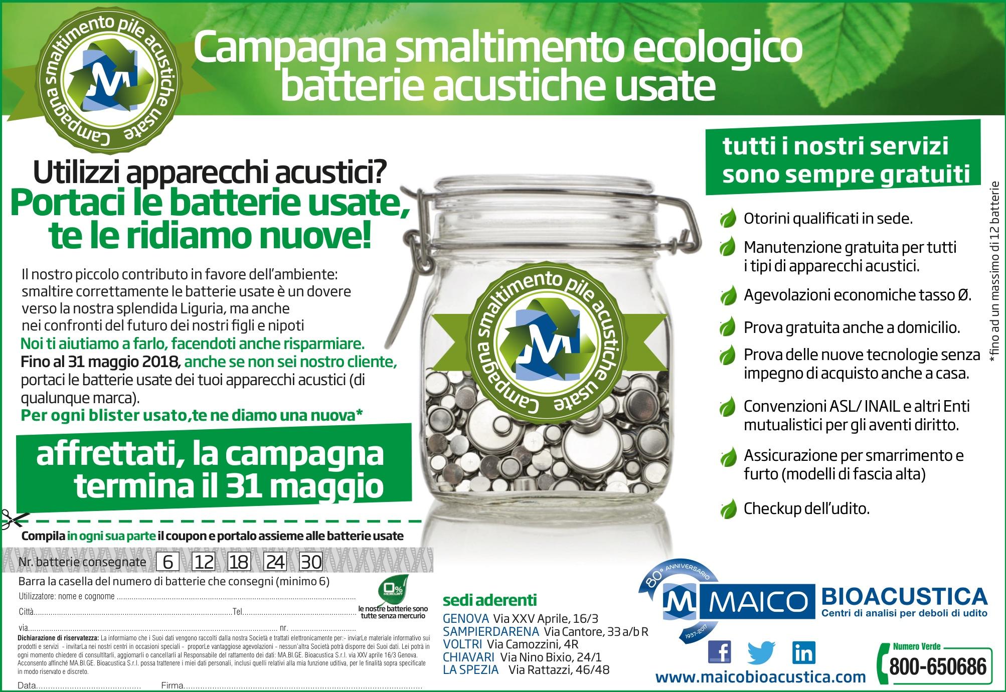 Campagna smaltimento ecologico batterie acustiche esauste